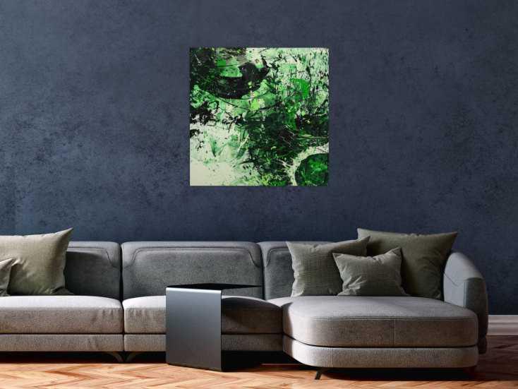 #1616 Abstraktes Gemälde handgemalt auf Leinwand Action Painting Modern Art 70x70cm von Alex Zerr