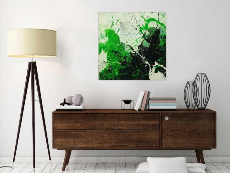#1617 Abstraktes Gemälde handgemalt auf Leinwand Action Painting Modern Art 70x70cm von Alex Zerr