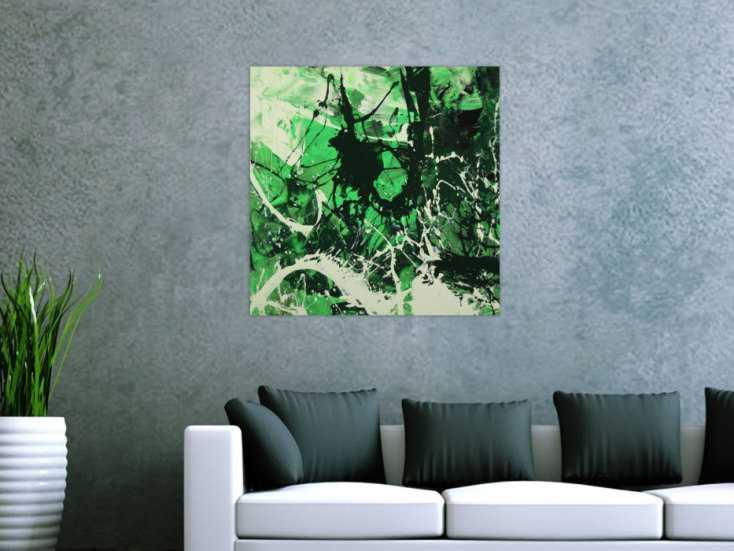 #1618 Abstraktes Gemälde handgemalt auf Leinwand Action Painting Modern Art 70x70cm von Alex Zerr