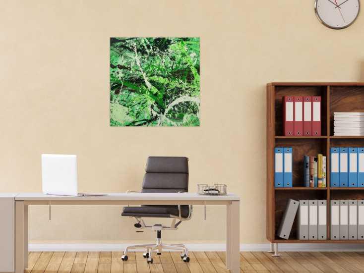 #1619 Abstraktes Gemälde handgemalt auf Leinwand Action Painting Modern Art 70x70cm von Alex Zerr