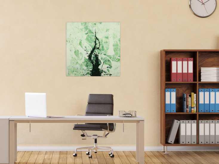 #1620 Abstraktes Gemälde handgemalt auf Leinwand Action Painting Modern Art 70x70cm von Alex Zerr