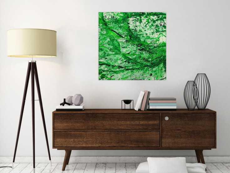 #1621 Abstraktes Gemälde handgemalt auf Leinwand Action Painting Modern Art 70x70cm von Alex Zerr