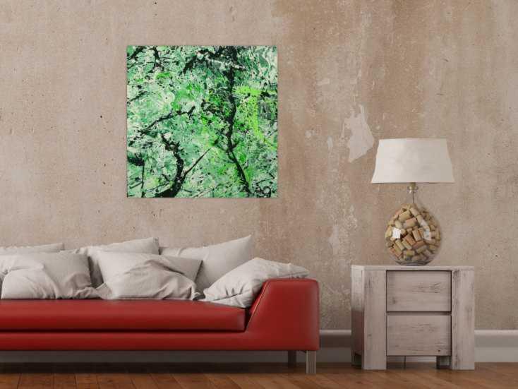 #1622 Abstraktes Gemälde handgemalt auf Leinwand Action Painting Modern Art 70x70cm von Alex Zerr