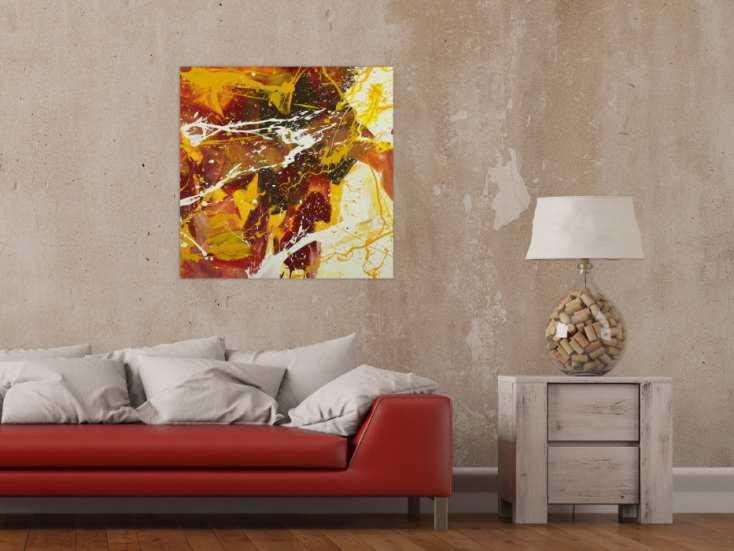#1623 Abstraktes Gemälde handgemalt auf Leinwand Action Painting Modern Art 70x70cm von Alex Zerr