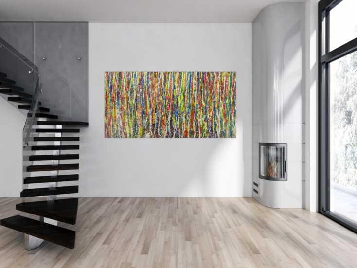 #1624 Abstraktes Gemälde bunt viele Farben Action Painting auf Leinwand 100x200cm von Alex Zerr