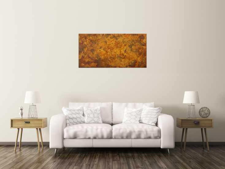 #1625 Abstraktes Gemälde aus echtem Rost Rostfarbe auf Leinwand abstrakte ... 60x120cm von Alex Zerr