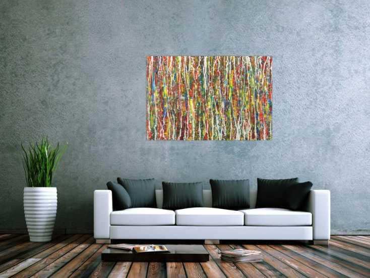 #1626 Abstraktes Gemälde Action Painting bunte Farben Modern Art auf ... 80x120cm von Alex Zerr