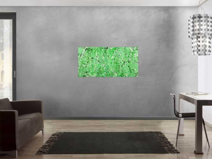 #1627 Abstraktes Gemälde Action Painting grün hellgrün Modern Art auf ... 60x120cm von Alex Zerr