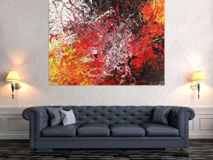 #1629 Abstraktes Gemälde Action Painting Modern Art handgemalt auf Leinwand 125x165cm von Alex Zerr