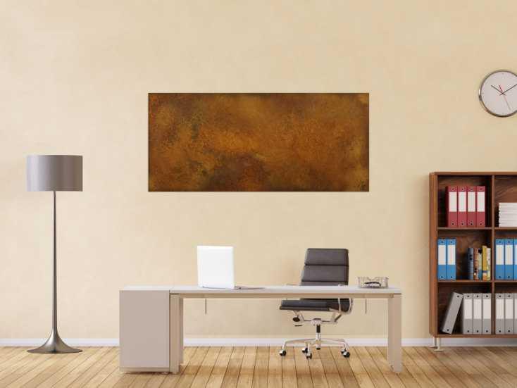#1631 Abstraktes Gemälde aus echtem Rost auf Leinwand handgemalt Modern ... 70x160cm von Alex Zerr