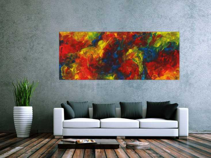 #1633 Abstraktes Gemälde Acryl handgemalt auf Leinwand zeitgenösisch ... 80x200cm von Alex Zerr