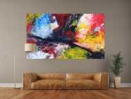 Abstraktes Gemälde Action Painting Modern Art zeitgenössisch handgemalt im Großformat auf Leinwand