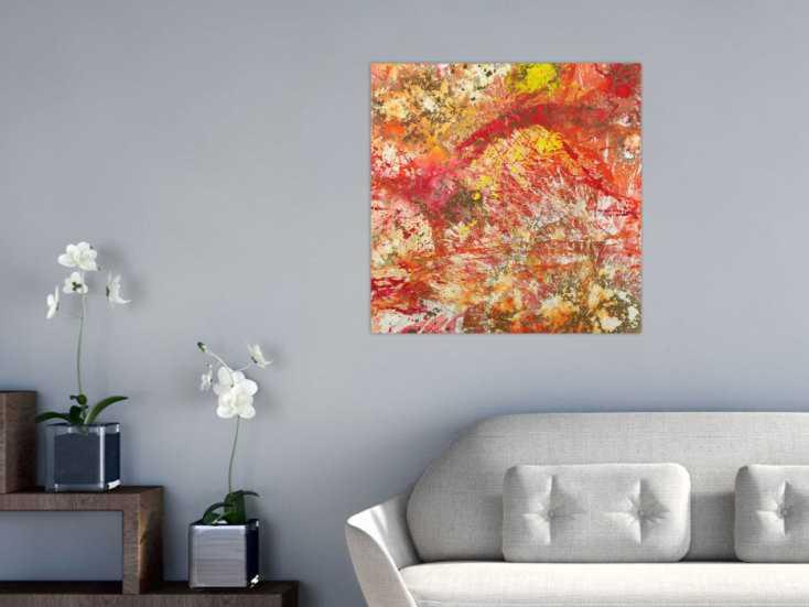 #1635 Abstraktes Gemälde handgemalt auf Leinwand Action Painting Modern Art 70x70cm von Alex Zerr