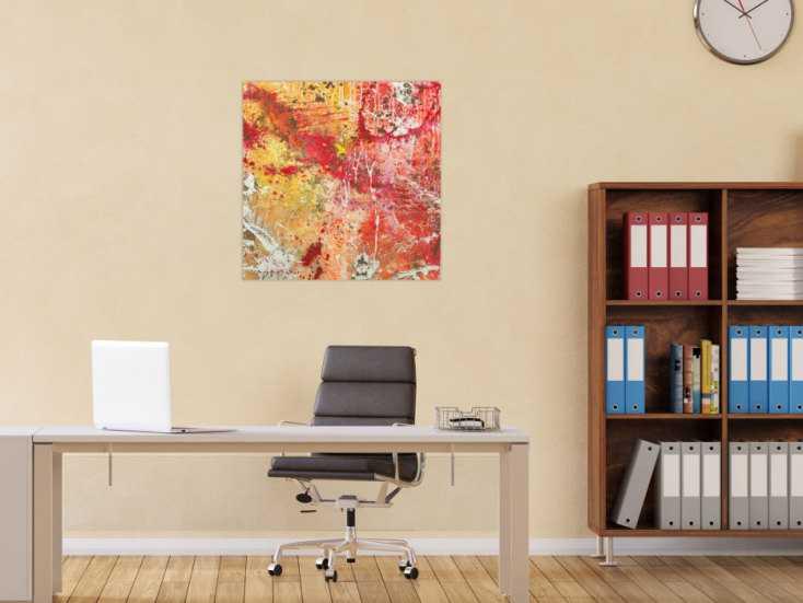 #1636 Abstraktes Gemälde handgemalt auf Leinwand Action Painting Modern Art 70x70cm von Alex Zerr