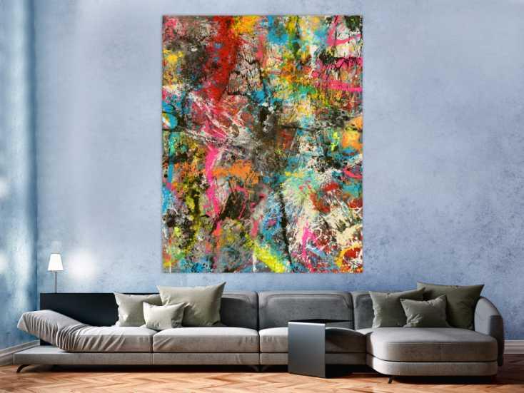 #1637 Abstraktes Gemälde Action Painting Mischtechnik Acryl Spraypait ... 180x140cm von Alex Zerr