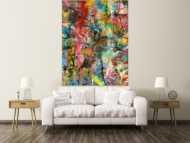 Abstraktes Gemälde Action Painting Mischtechnik Acryl Spraypait Hochformat Modern Art handgemalt auf Leinwand