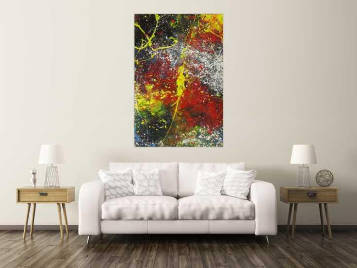 #1638 Abstraktes Gemälde Action Painting bunt Modern Art handgemalt auf ... 150x100cm von Alex Zerr