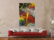 Abstraktes Gemälde Action Painting bunt Modern Art handgemalt auf Leinwand