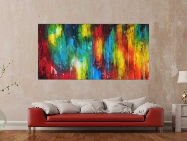 #1640 Abstraktes Gemälde auf Leinwand hangemalt sehr bunt Modern Art ... 100x200cm von Alex Zerr