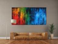 Abstraktes Gemälde auf Leinwand sehr bunt zeitgenössische Malerei groß