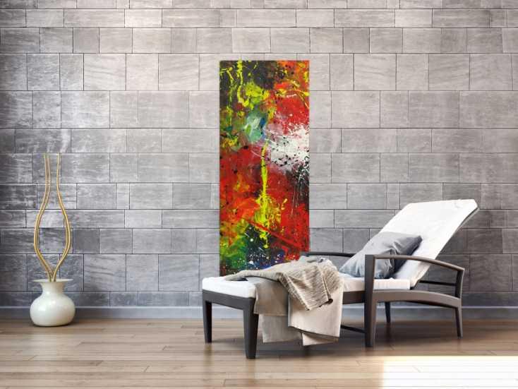 #1642 Abstraktes Acrylbild handgemalt Hochformat auf Leinwand sehr bunt ... 150x55cm von Alex Zerr
