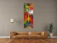 Abstraktes Acrylbild handgemalt Hochformat auf Leinwand sehr bunt Modern Art Action Paitning