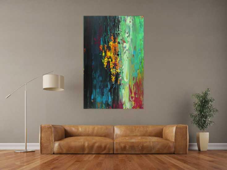 #1643 Abstraktes Acrylbild handgemalt originales Gemälde Spachteltechnik ... 140x90cm von Alex Zerr