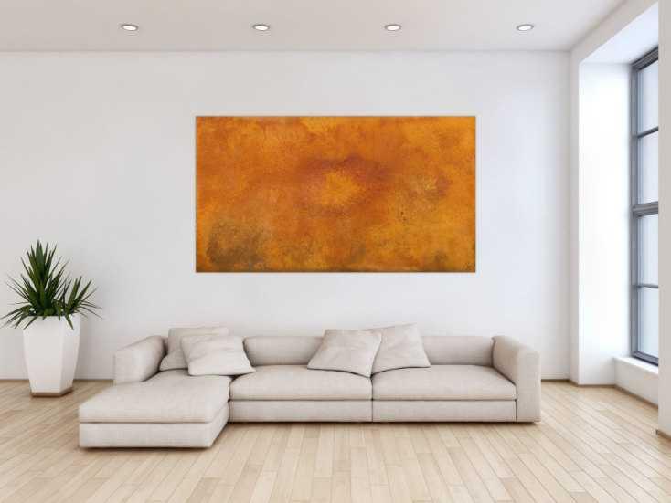 #1644 Abstraktes Gemälde aus echtem Rost handgemalt auf Leinwand Modern Art 100x180cm von Alex Zerr