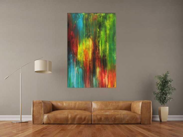 #1645 Modernes Gemälde bunte Farben auf Leinwand handgemalt Modern Art 140x90cm von Alex Zerr