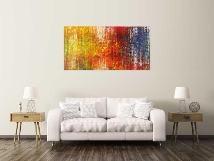 #1646 Abstraktes Gemälde Spachteltechnik auf Leinwand handgemalt 80x160cm von Alex Zerr
