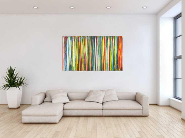 #1648 Abstraktes Gemälde bunte Streifen handgemalt auf Leinwand Modern Art 80x140cm von Alex Zerr