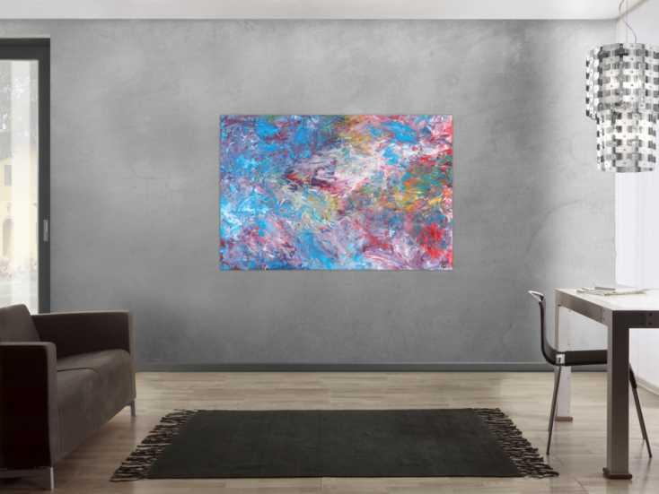 #1650 Abstraktes Acrylbild Spachteltechnik handgemalt auf Leinwand 100x150cm von Alex Zerr