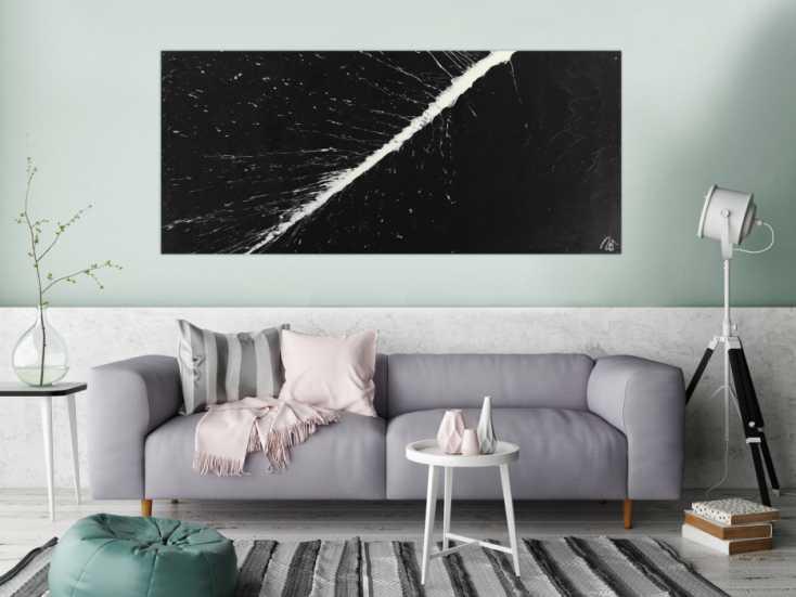 #1651 Abstraktes Gemälde minimalistisch schwarz weiß handgemalt Action ... 80x180cm von Alex Zerr