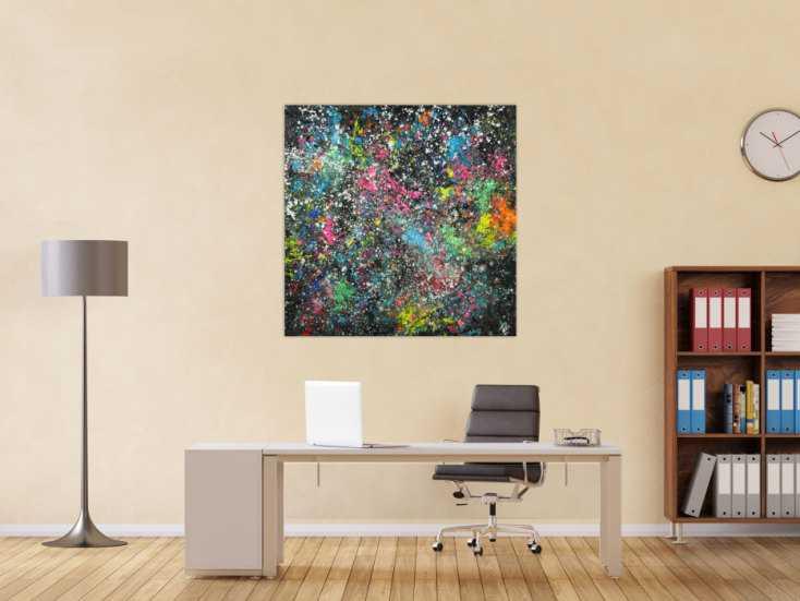 #1652 Abstraktes Acrylbild handgemalt sehr bunt Modern Art auf Leinwand 110x110cm von Alex Zerr