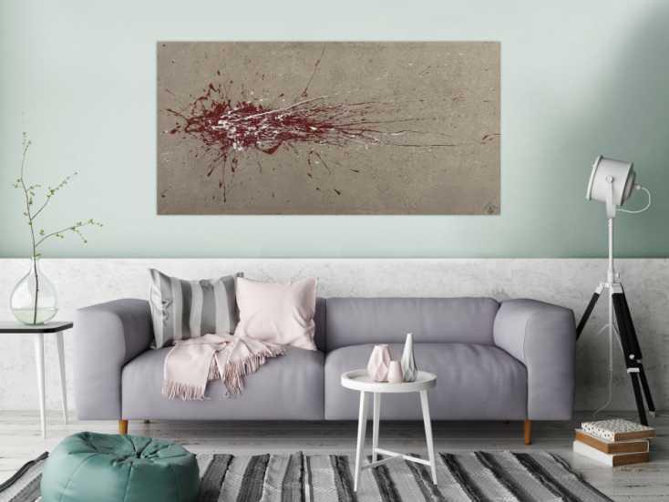 #1653 Abstraktes Gemälde auf Leinwand handgemalt Action Painting Modern Art 80x160cm von Alex Zerr