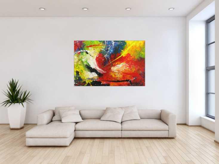 #1654 Abstraktes Gemälde Action Painting handgemalt auf Leinwand bunt ... 90x140cm von Alex Zerr