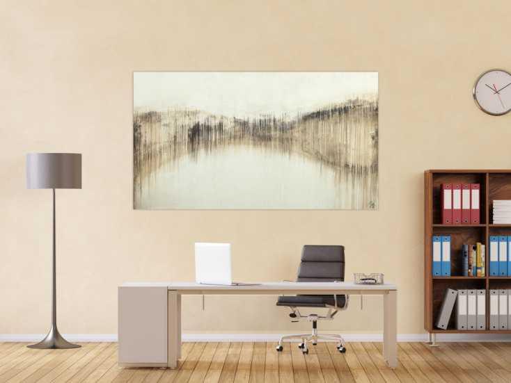#1655 Abstraktes Acrylbild handgemalt auf Leinwand weiß braun beige 100x180cm von Alex Zerr