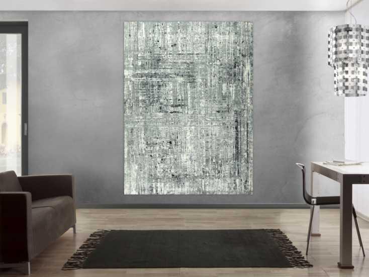 #1657 Abstraktes Gemälde schwarz weiß grau handgemalt auf Leinwand groß ... 200x150cm von Alex Zerr