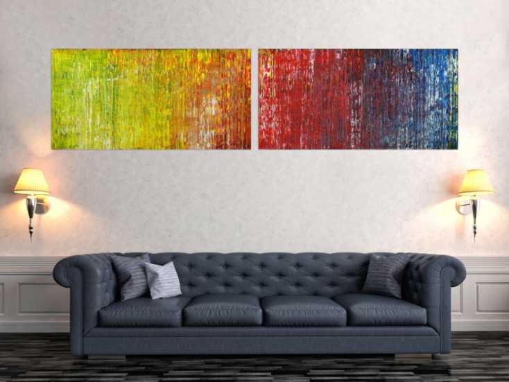 #1659 Abstraktes Acrylbild handgemalt Spachteltechnik bunt Modern Art 60x240cm von Alex Zerr