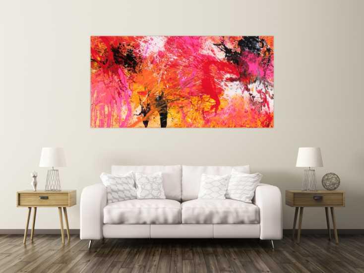 #1660 Abstraktes Gemälde Action Painting auf Leinwand handgemalt Modern Art 100x200cm von Alex Zerr