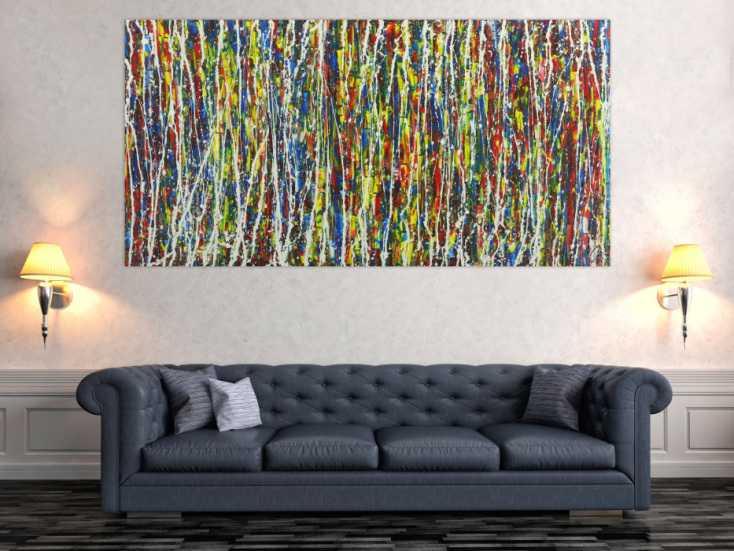 #1661 Abstraktes Gemälde Action Painting sehr bunt Moden Art handgemalt 100x200cm von Alex Zerr