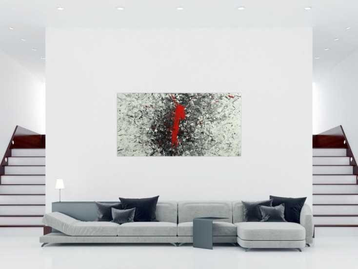 #1662 Abstraktes Acrylbild Action Panting handgemalt auf Leinwand weiß ... 100x200cm von Alex Zerr
