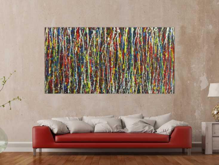 #1663 Abstraktes Gemälde handgemalt Action Painting sehr bunt Modern Art 100x200cm von Alex Zerr