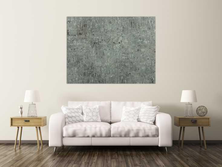 #1664 Abstraktes Acrylbild auf Leinwand handgemalt grau braun ... 120x160cm von Alex Zerr
