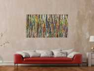 Abstraktes Gemälde auf Leinwand handgemalt sehr bunt Action Paintint