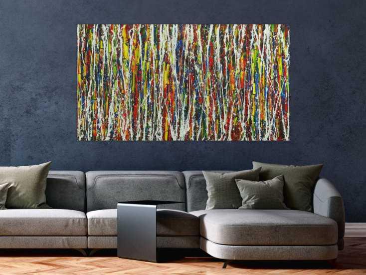 #1665 Abstraktes Gemälde auf Leinwand handgemalt sehr bunt Action Paintint 80x150cm von Alex Zerr