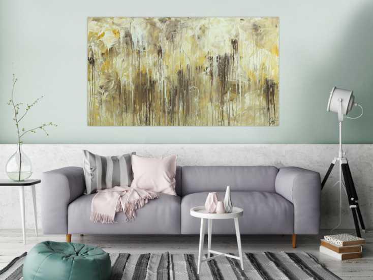 #1666 Abstraktes Acrylbild Action Painting handgemalt auf Leinwand Modern ... 90x160cm von Alex Zerr