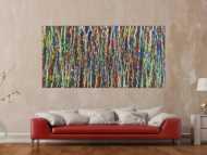 Abstraktes Acrylbild Action Painting handgemalt auf Leinwand sehr bunt