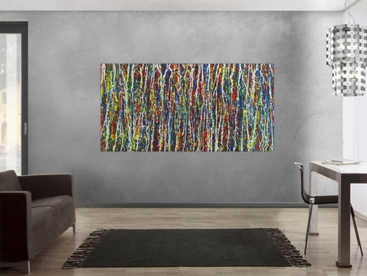 #1667 Abstraktes Acrylbild Action Painting handgemalt auf Leinwand sehr bunt 100x200cm von Alex Zerr
