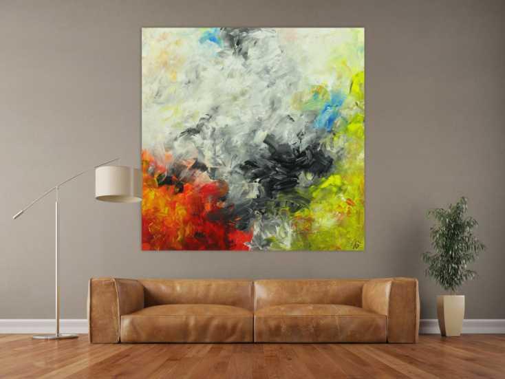 #1668 Abstraktes Gemälde Modern Art auf Leinwand handgemalt quadratisch 150x150cm von Alex Zerr